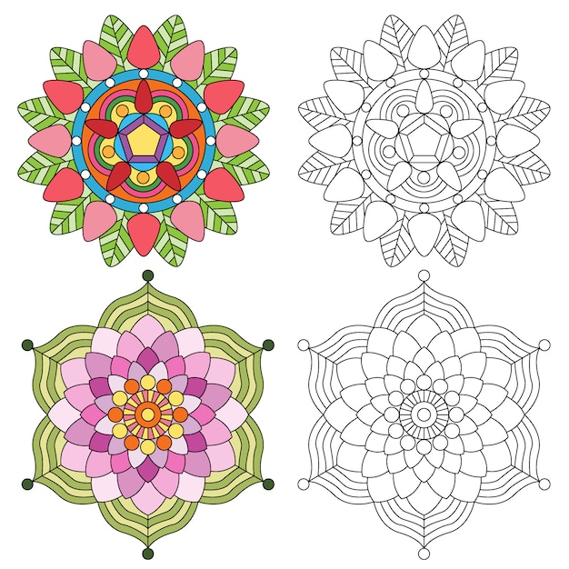 Mandala flower 2 style coloring for adults. Premium Vector