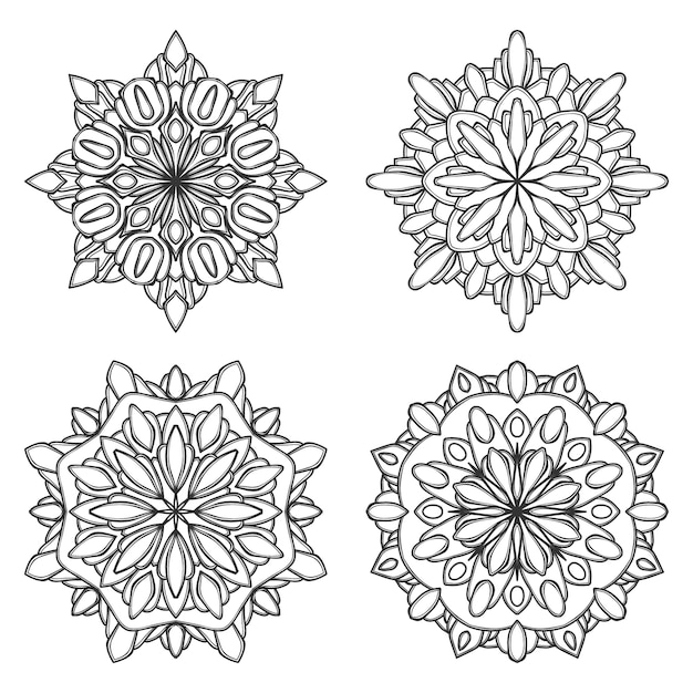 Mandala flower illustration Premium Vector