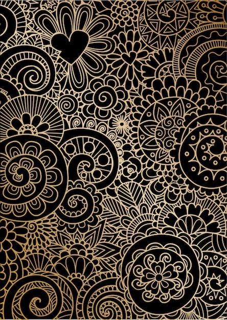 Mandala movement in golden lines on black Premium Vector