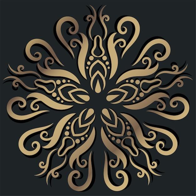 만다라 장식 또는 꽃 배경 디자인 황금 색상. 프리미엄 벡터