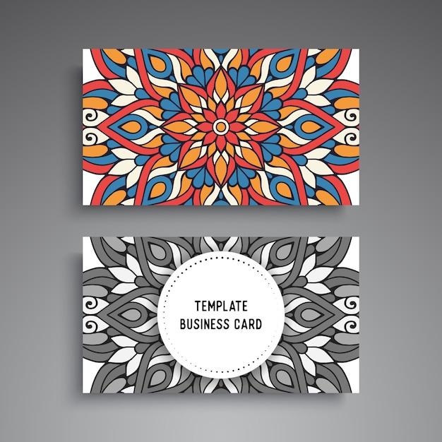 Mandala ornamental business card template Premium Vector