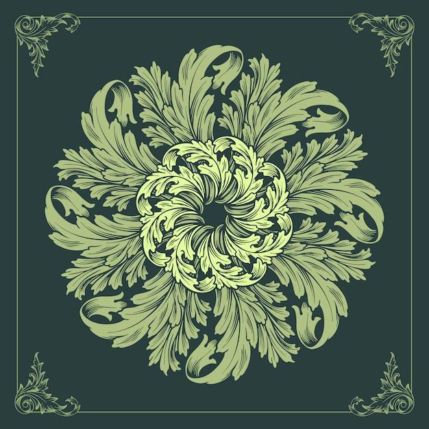 Mandala ornaments design floral  green Premium Vector