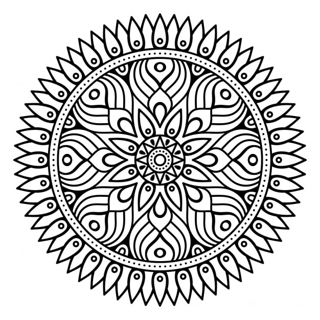 Mandala, outline, without color Vector | Free Download