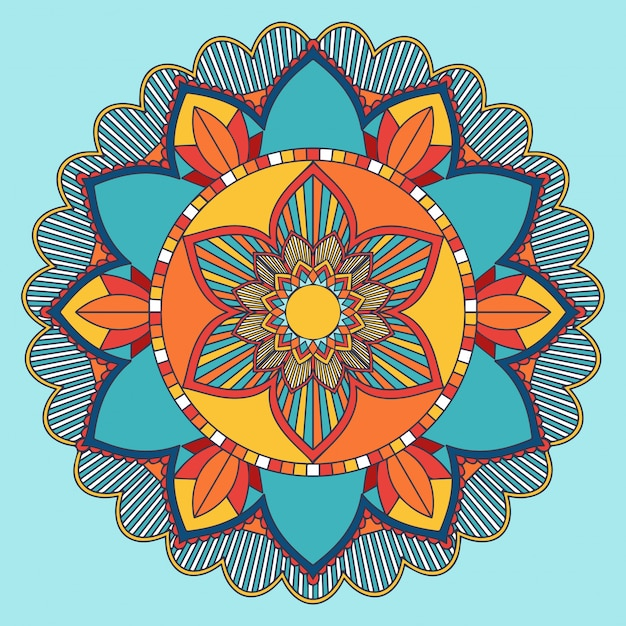 Mandala pattern  in blue and orange Free Vector