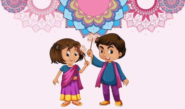 Mandala pattern design background with indian girl and boy Free Vector