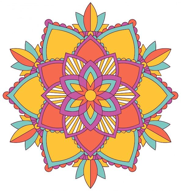 Mandala pattern design in many colors Free Vector