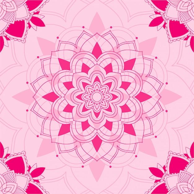 Mandala pattern on pink background Free Vector