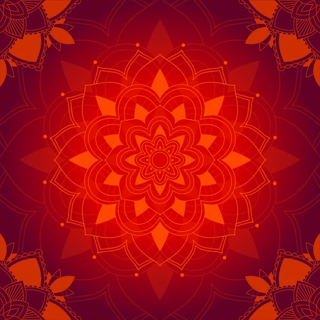 Mandala pattern on red background Free Vector