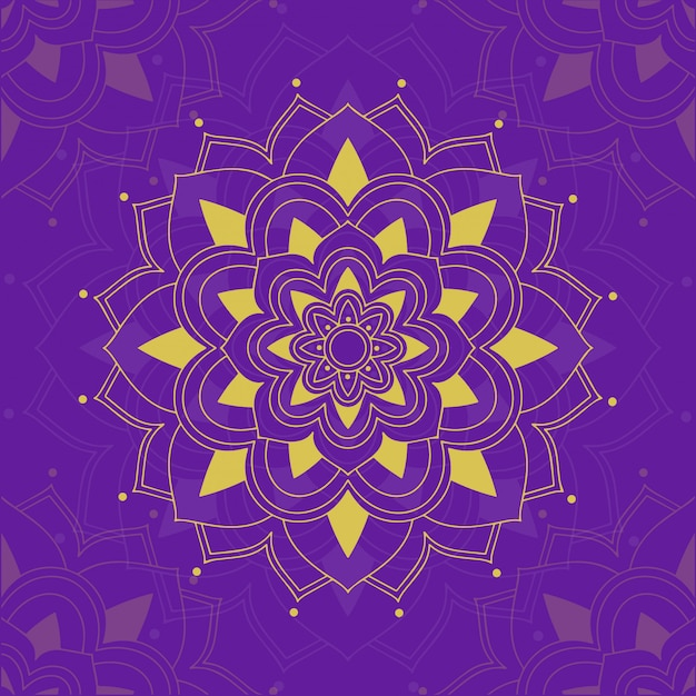 Mandala patterns on purple Free Vector