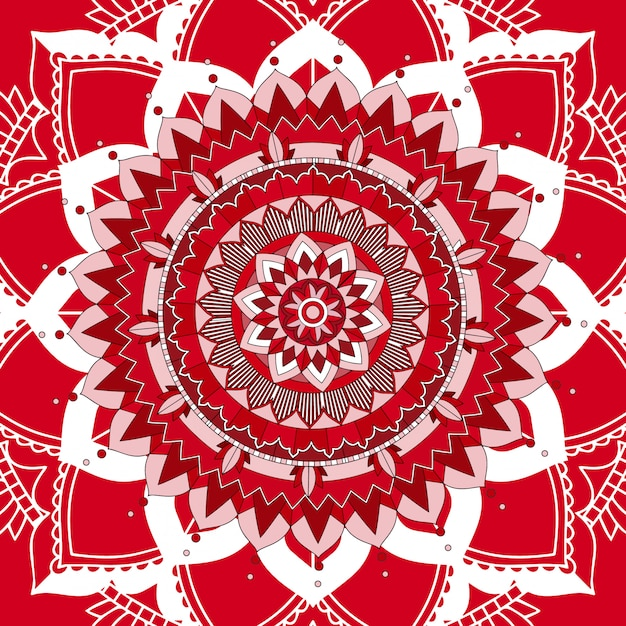 Mandala patterns on red background Free Vector