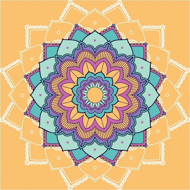 Mandala patterns on yellow background Free Vector