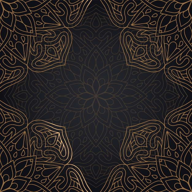 Mandala seamless pattern background design in black and golden color Free Vector