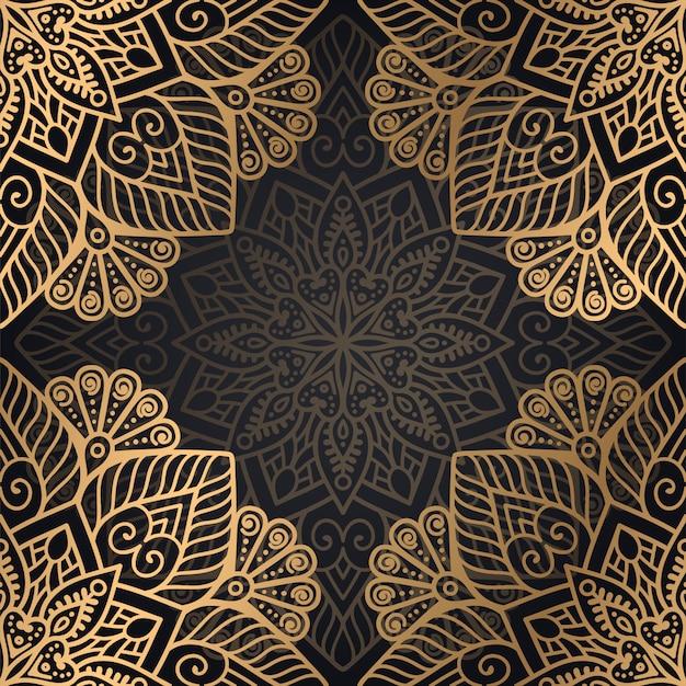 Мандала бесшовные узор фона в черном и золотом цвете Бесплатные векторы