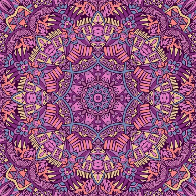 만다라 원활한 패턴 만다라 예술. 플라워 메달리온 프린트. 프리미엄 벡터