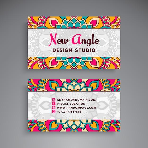 Mandala style business card for design studio vector free download mandala style business card for design studio free vector reheart Gallery