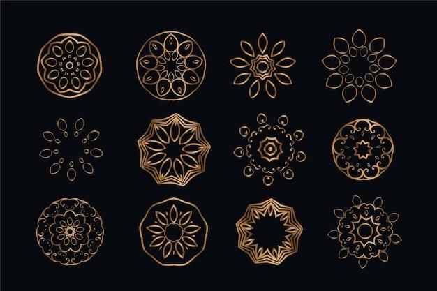 Elementi di decorazione in stile mandala set di dodici Vettore gratuito