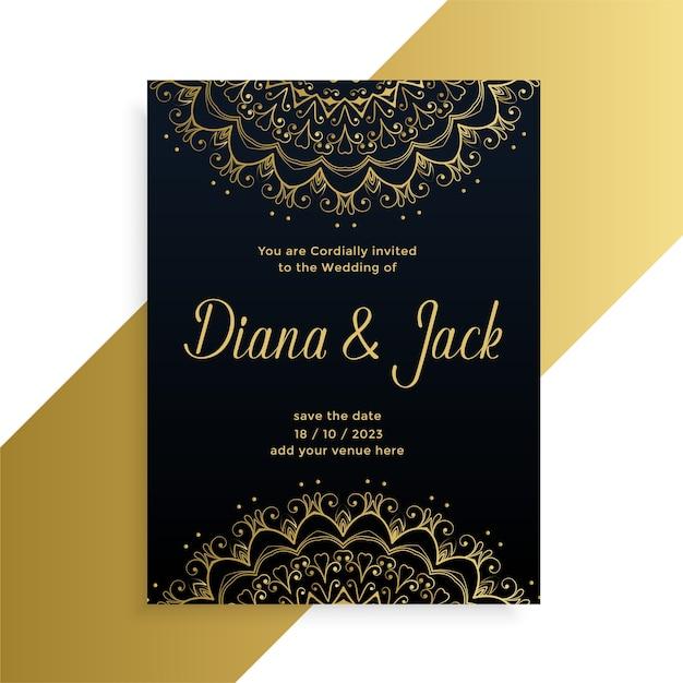 Mandala style decorative wedding card indian style design Free Vector