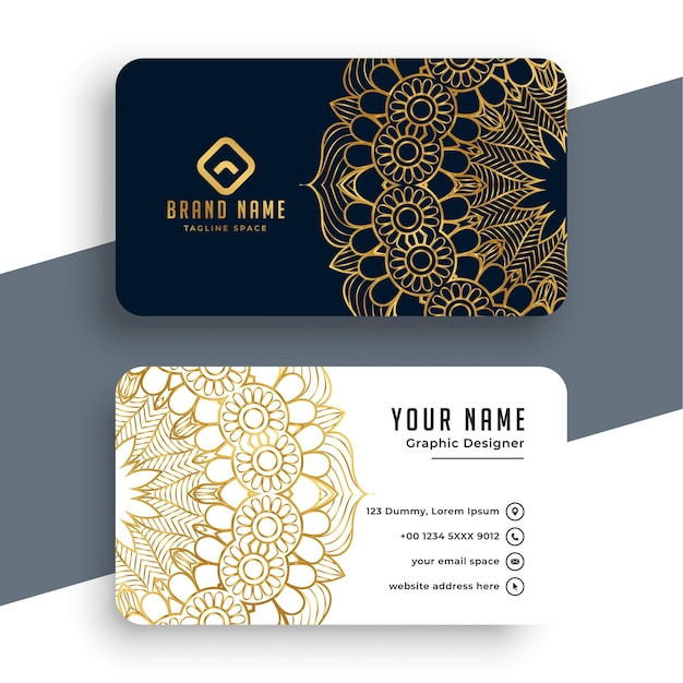 Mandala style premium business card template Free Vector