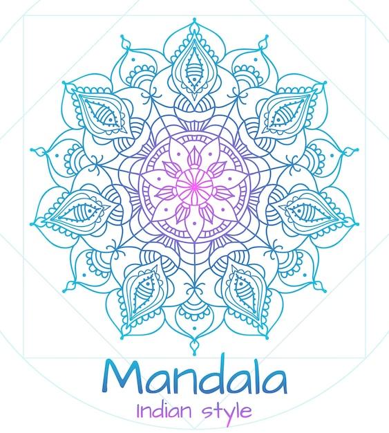 Мандала тонкая линия в индийском стиле. буддизм и медитация, цветочное оформление Бесплатные векторы