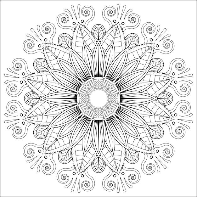 Mandala Vector Floral Flower Oriental Coloring Book Page Premium