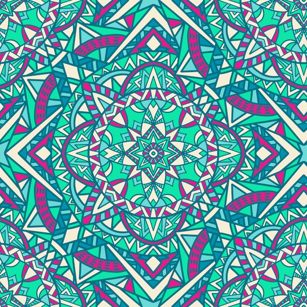 Mandala vector seamless pattern. tribal ornament. Premium Vector
