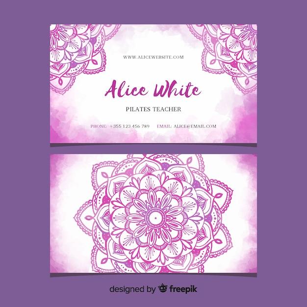 Mandala watercolor business card template Free Vector