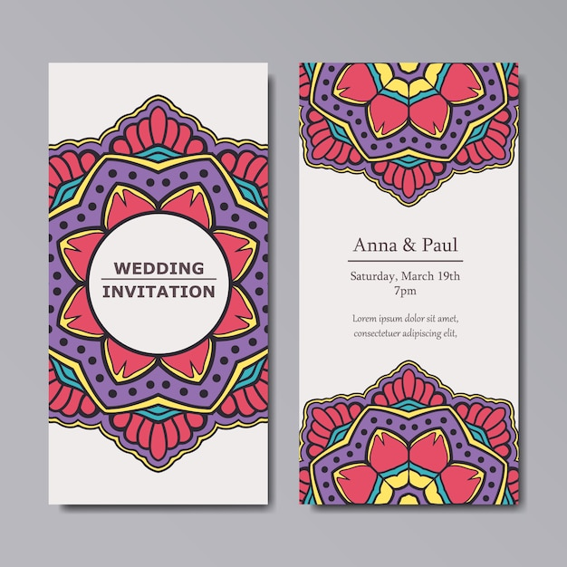 Mandala wedding invitation design Free Vector