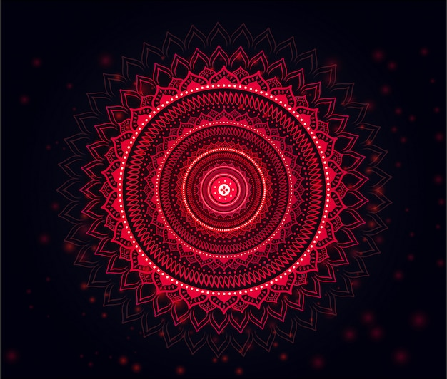 Premium Vector Mandala With Beautiful Soft Red Black Gradient Background Red