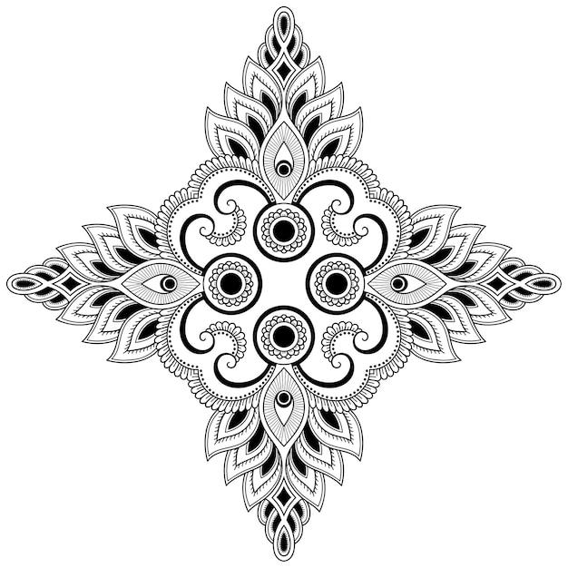 花と曼荼羅。エスニックオリエンタルスタイルの装飾飾り。落書き手描きイラストの概要を説明します。 Premiumベクター