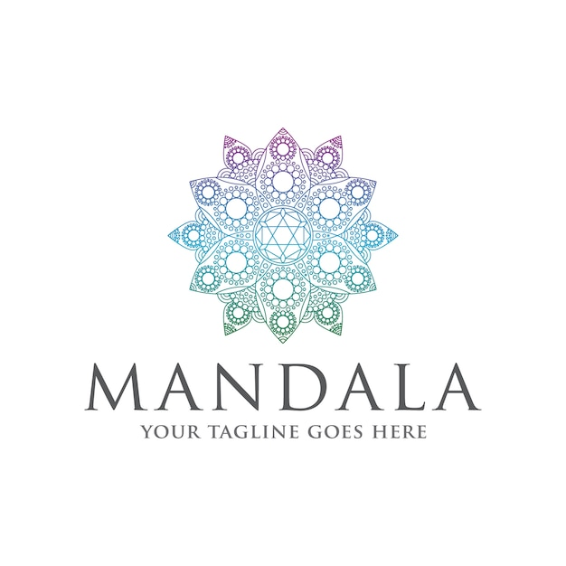 Мандала дзен красочный логотип шаблон Premium векторы