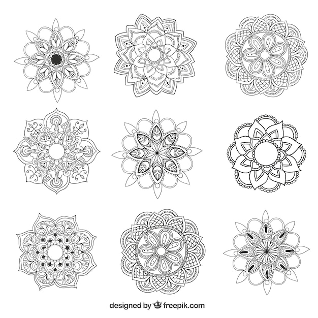 Mandalas collection Free Vector