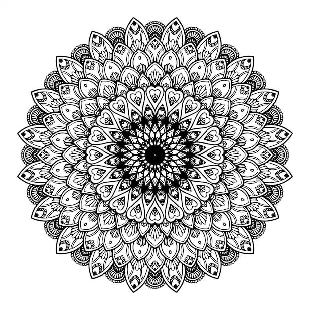 Mandalas coloring book, oriental therapy, yoga. Premium Vector