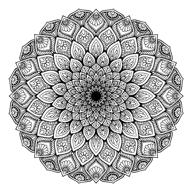 Mandalas coloring book, oriental therapy Premium Vector