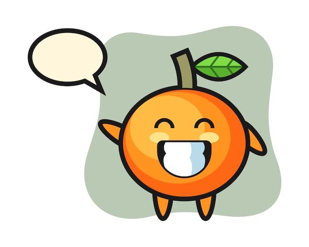 波の手のジェスチャー、かわいいスタイル、ステッカー、ロゴの要素を行うマンダリンオレンジの漫画のキャラクター Premiumベクター