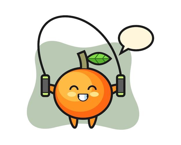 줄넘기, 귀여운 스타일, 스티커, 로고 요소가있는 만다린 오렌지 캐릭터 만화 프리미엄 벡터