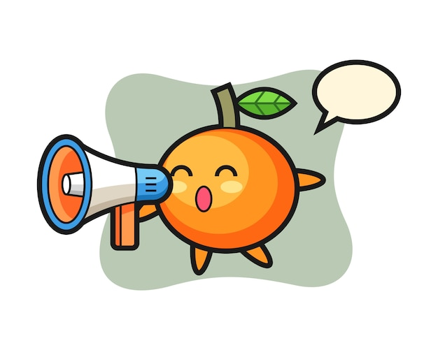 Mandarin orange character illustration holding a megaphone, cute style , sticker, logo element Premium Vector