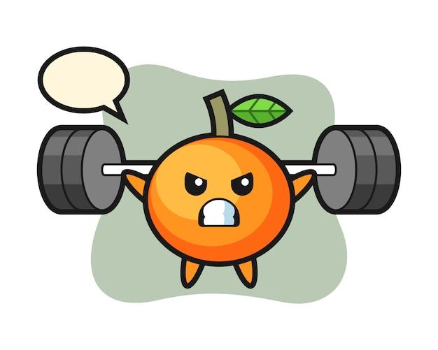 바벨, 귀여운 스타일, 스티커, 로고 요소가있는 만다린 오렌지 마스코트 만화 프리미엄 벡터