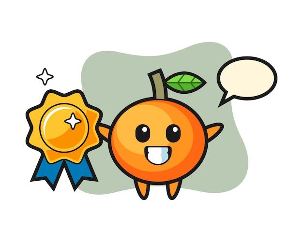 황금 배지, 귀여운 스타일, 스티커, 로고 요소를 들고 만다린 오렌지 마스코트 그림 프리미엄 벡터