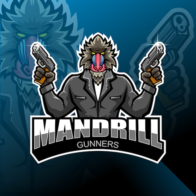 Mandrill наводчик дизайн логотипа талисмана esport Premium векторы