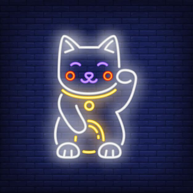 Maneki neko cat neon sign Free Vector