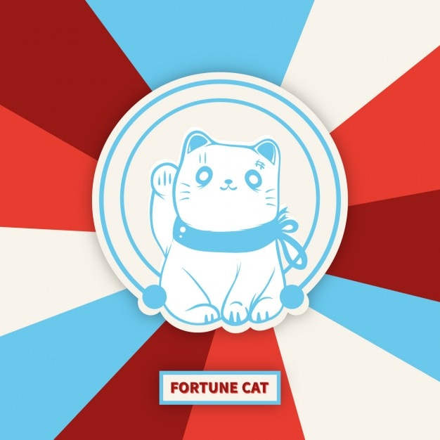Maneki-neko lucky cat Free Vector