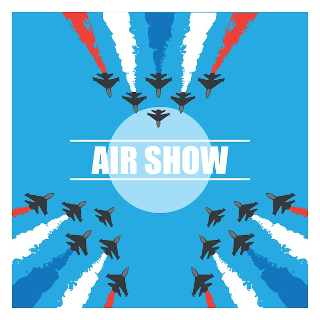 Maneuvers of an fighter planes in the blue sky for air show banner. vector illustration Free Vector