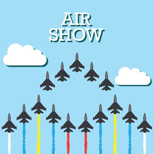 Maneuvers of an fighter planes in the blue sky\ for air show banner. vector illustration