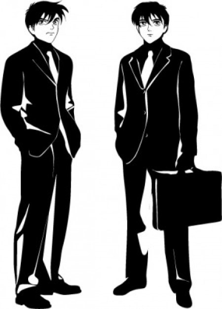 Manga businessmen noir design vector