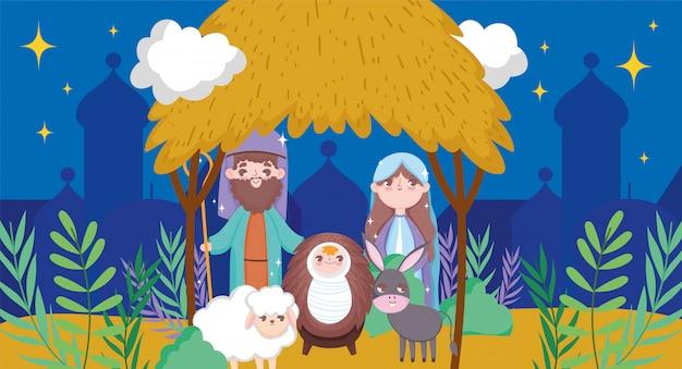 Manger sacred family nativity happy merry christmas Premium Vector