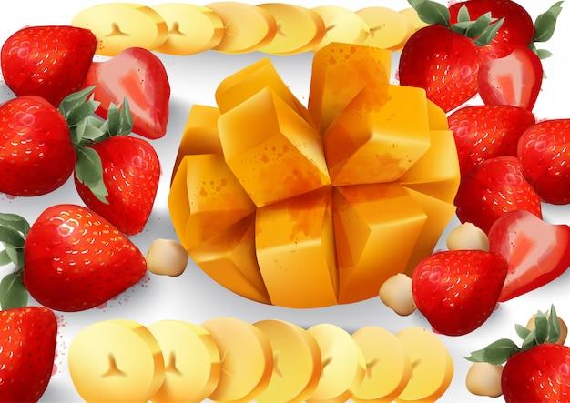 マンゴーとストロベリー。熱帯のエキゾチックなフルーツの盛り合わせ。新鮮なジューシーな組成物 無料ベクター