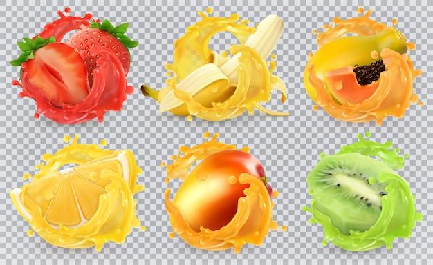 Манго, банан, киви, клубника, лимон, сок папайи. свежие фрукты и брызги, набор 3d реалистичные векторные иллюстрации Premium векторы