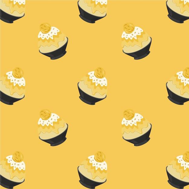 Mango bingsu cartoon pattern on yellow background Premium Vector