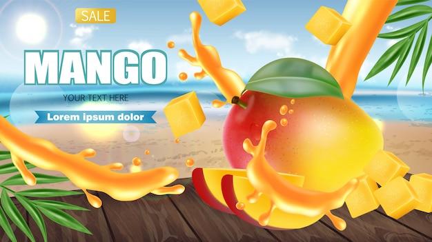 Mango fruit sliced on tropic banner Premium Vector