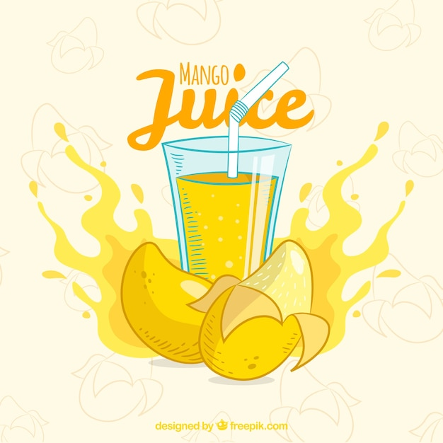 Mango juice background hand drawn Free Vector